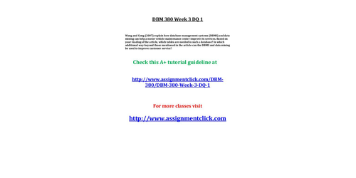 dbm 502 week 3 Get access to dbm 502 week 4 individual essays only from anti essays listed results 1 - 30 get studying today and get the grades you want only at my account.