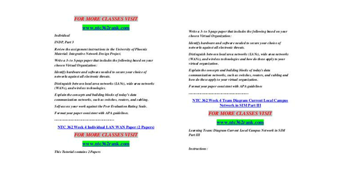 ntc 362 week two Description type: instant download format: microsoft word ntc 362 week 2 individual assignment- indp, part 1.