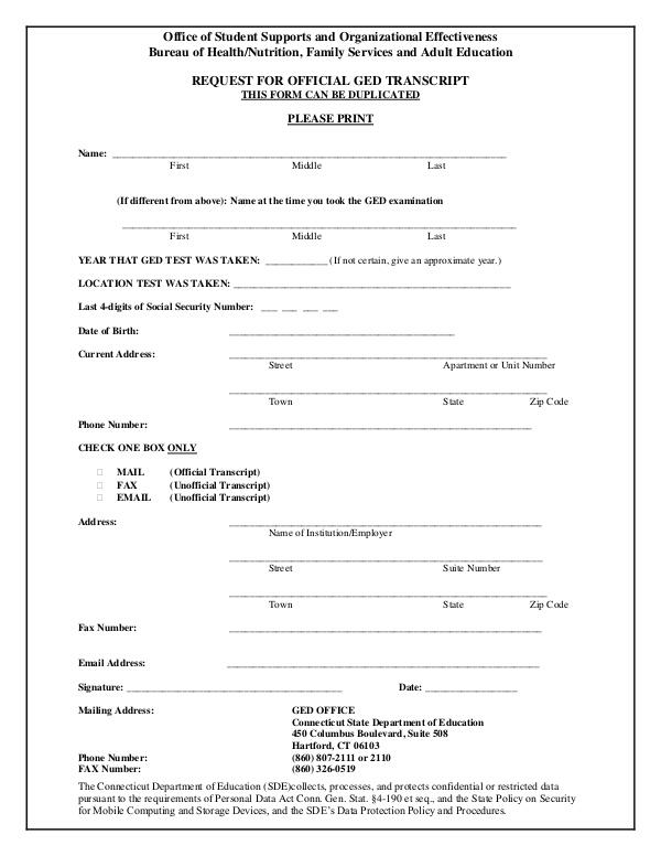 Enfield Adult Education Brochures Ged Transcript Request Form