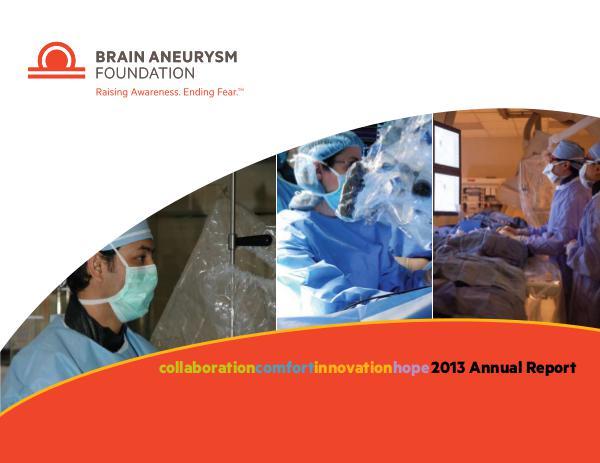 2013 Brain Aneurysm Foundation Annual Report 2013-Brain-Aneurysm-Foundation-Annual-Report
