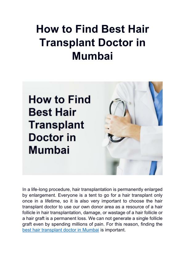 How to Find Best Hair Transplant Doctor in Mumbai