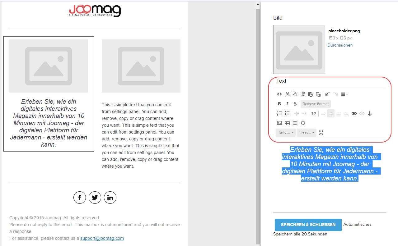 Texte in E-Mail-Vorlagen bearbeiten und hinzufügen | Joomag Hilfe-Center