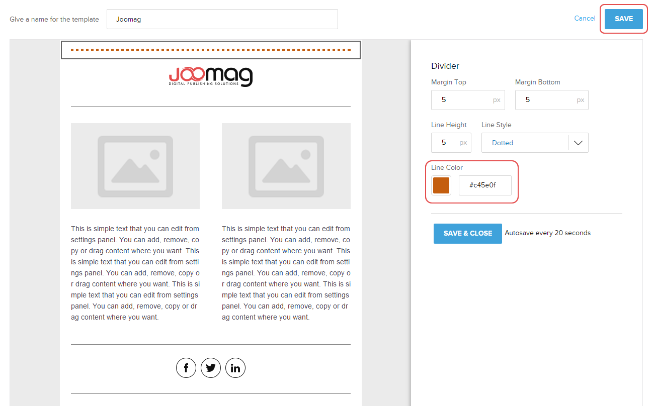 How to add a divider in the Mail Template Editor | Joomag Help Center